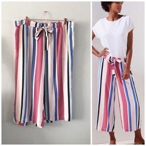 LOFT XL Pink Vertical Stripe Crop Wide Leg Pants